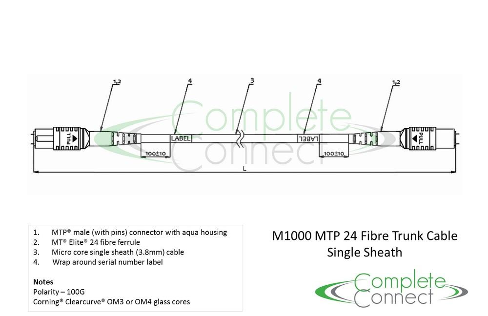 MTP 100G 24 fibre trunk cable