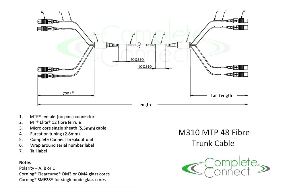 MPO MTP 48 fibre 10G trunk cable