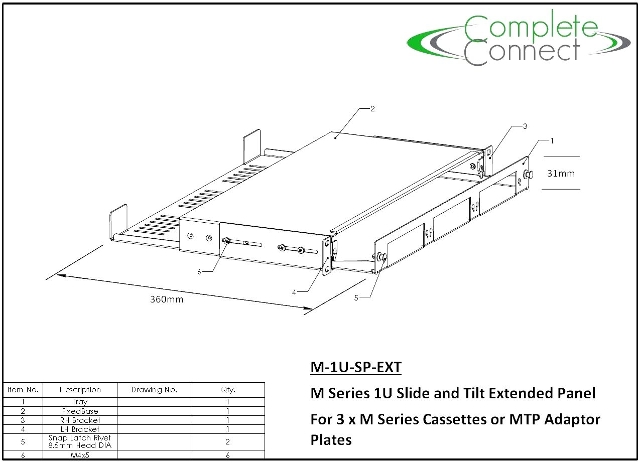 Technical Drawing M Series Fixed Panel
