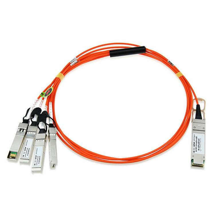 Active optical breakout cable AOC QSFP+ to 4 SFP+